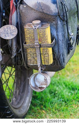 Dirty Cup On Baggage, Vintage Ajs Motorcycle, Iceland Trip