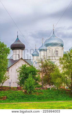 Veliky Novgorod, Russia. Zverin Intercession Monastery, Church Of Simeon The God Receiver And Interc