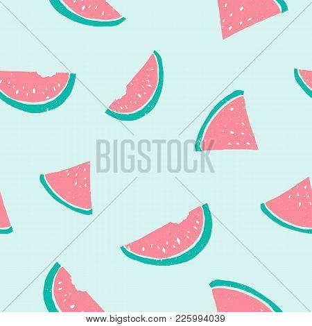 Seamless Watermelon Pattern. Cute Pastel Light Colors Pink, Blue, Green. Grunge Texture Illustration