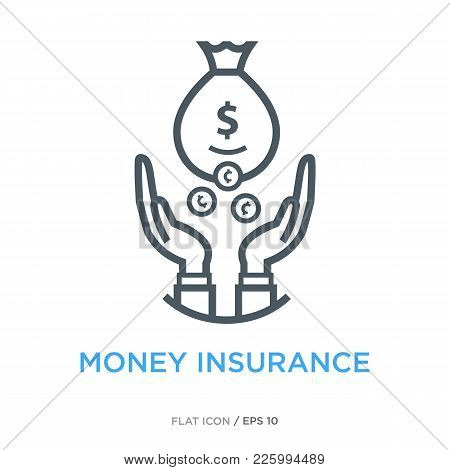Hands Catching Falling Coins As Money Insurance Symbol. Simple Line Flat Icon.
