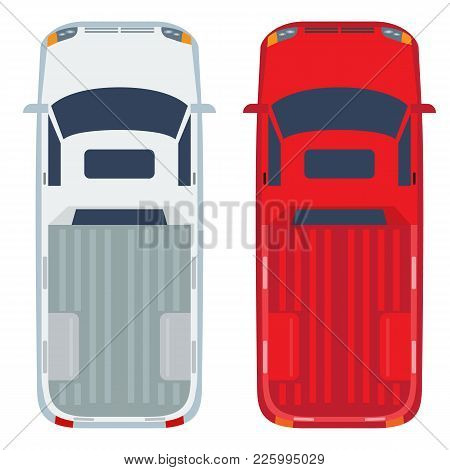 Pickup Top View With Flat And Solid Color Design. Commercial Vehicle Illustration For Distribution L