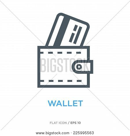 Wallet With Credit Card As Payment And Money Symbol. Simple Line Flat Icon.