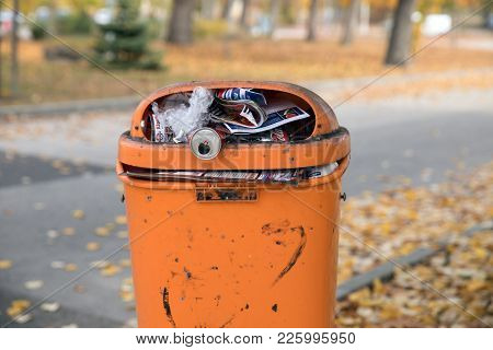 Budapest, Hungary - February 7, 2018: Rubbish Overflow Outside Dirty Trash Containers