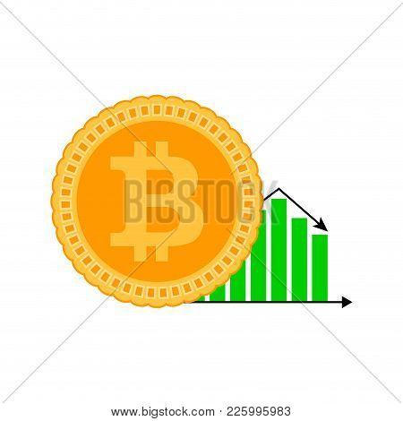 Falling Of Course Bitcoin. Vector Flat Bitcoin Money Falling, Financial Cryptocurrency Diagram Illus