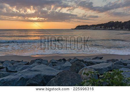 Amazing Sunrise Panorama From Beach Of Town Of Tsarevo, Burgas Region, Bulgaria