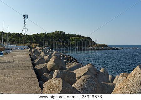 Breakwater On The Port Of Town Of Tsarevo, Burgas Region, Bulgaria