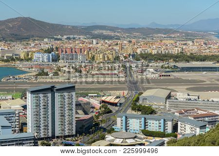 Aerial View Of Gibraltar Town, Seen From The Rock Of Gibraltar On September 4, 2017 In Gibraltar, Un