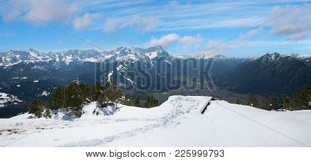 Lookout Platform On Wank Mountain Top With Breathtaking View To Zugspitze Mass And Garmisch Health R