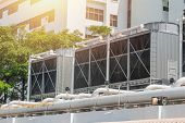 HVAC Air Chillers on Rooftop Units of Air Conditioner for Large Industry Air Cooling system poster