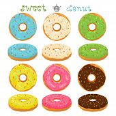 Abstract vector icon illustration logo for glazed sweet donut. Donut pattern consisting of heap of different colored confection doughnuts. Eat tasty cakes donuts, doughnut covered in chocolate cream. poster