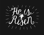 Hand lettering He is risen with a cross. Biblical background. Easter. Sunday. Christian poster. New Testament. Scripture. Graphics poster
