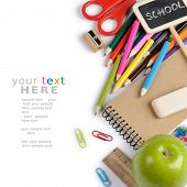 School stationery isolated over white with copyspace poster