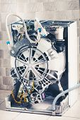 washing machine with open enclosure is ready for service poster
