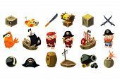 Cartoon pirate icons set. Mobile game assets. Captain, freebooter, parrot, sailboat, treasure chest, gold, skull, crossed daggers, spyglass, sword hat bomb Flat vector design isolated on white poster