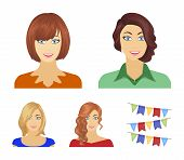 The appearance of a woman with a hairdo, the face of a girl. Face and appearance set collection icons in cartoon style vector symbol stock illustration . poster