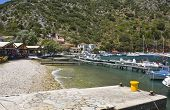 Fishing village of Frikes at Ithaki island in Greece poster