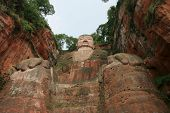 Grand Buddha statue in Leshan China. It was finished in the year 803 and is in total 71 meters high. poster