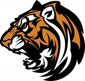 Graphic Team Mascot Image of  a Growling Tiger Head poster