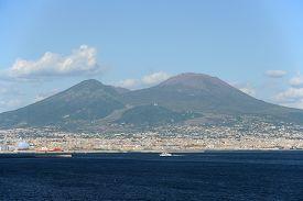 Bay of Naples with Mount Vesuvius, Italy.