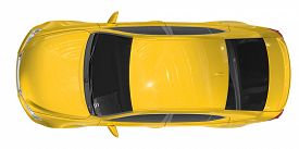 car isolated on white - yellow paint, tinted glass - top view - 3d rendering