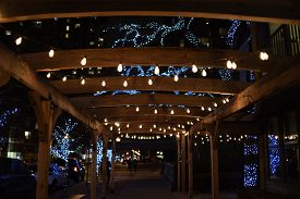 Outdoor Outside Seating Eating Area Terrace Patio Pavilion Illuminated With Strands Of Lights Overhe