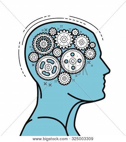 Brain And Head, Mechanical Gears In Progress. Vector Illustration