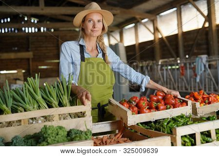 Cheerful farmer woman selling products directly fom the farm