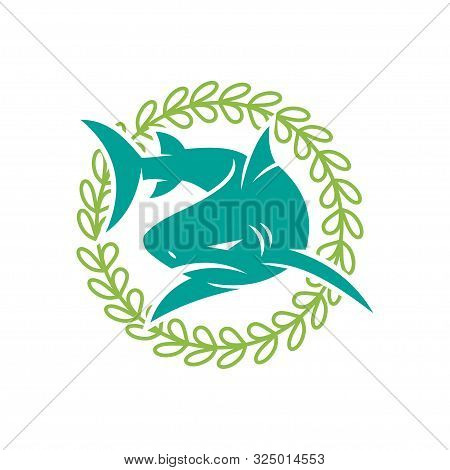 Shark Leaf Rotation Logo Design Vector Isolated Illustration