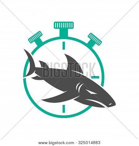 Shark Stopwatch Logo Design Vector Isolated Illustration