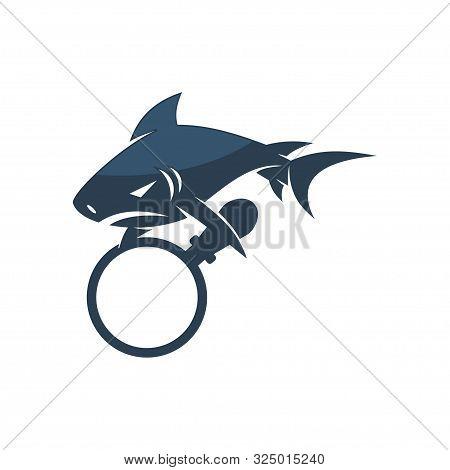 Shark Magnify Logo Design Vector Isolated Illustration Template