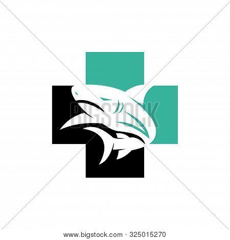 Shark Cross Health Logo Design Vector Isolated Template