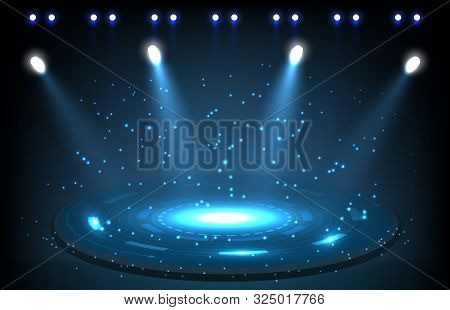 Abstract Background Of Stage With Spotlight Technology Concept