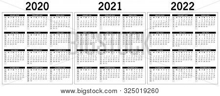Basic Monochrome Calendar For The Years 2020, 2021, 2022. Vector, Eps 10