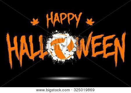 Happy Halloween And Volleyball Ball Of Blots. Design Pattern For Banner, Poster, Greeting Card, Flye