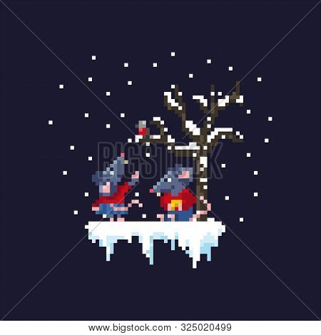 A Pair Of Cute Rats Are Walking Under A Snowfall Near A Tree.