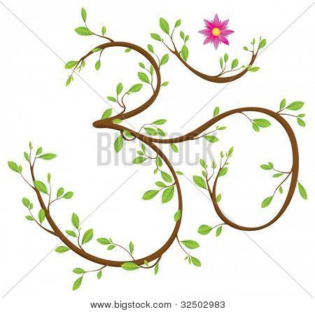 Om symbol made of twigs, leaves and a blossom. Om or Aum is a sacred syllable in Hinduism, Buddhism and Jainism