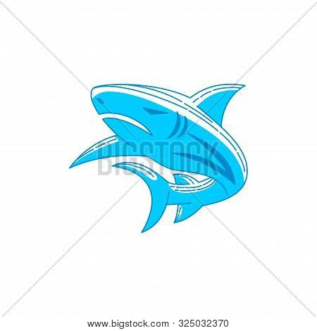 Shark Template Logo Design Outline Isolated Illustration
