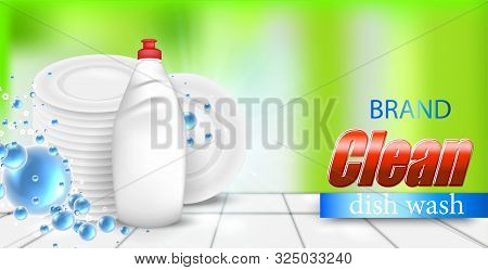 Dishwashing Liquid Bottle With A Clean White Plates, On Colorful