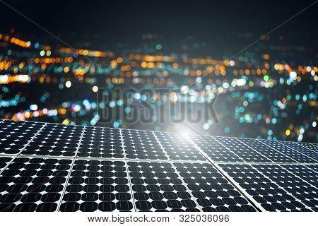 Texture Of Photovoltaic Panels Solar Panel With City Bokeh Light Night Background, Alternative Energ