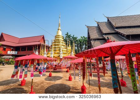 Prayer Flags Tung Hang With Umbrella Or Northern Traditional Flag Hang On Sand Pagoda In The Phan Ta