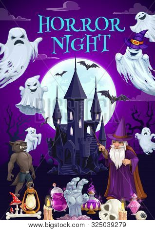 Halloween Haunted House With Horror Night Ghosts Vector Design. Full Moon, Bats And Creepy Castle, S