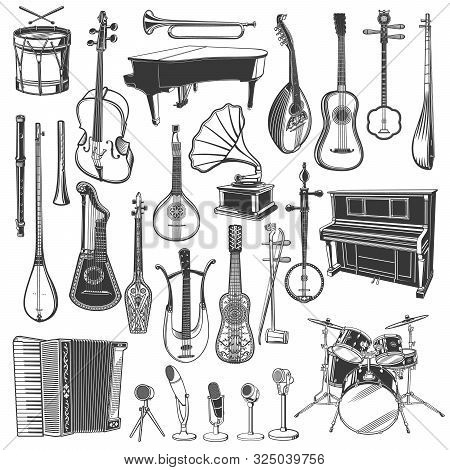 Musical Instrument, Microphone And Gramophone Sketches Of Ethnic And Classical Music. Vector Piano,