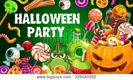 Halloween Party Pumpkin And Trick Or Treat Sweets Vector Design. Chocolate, Skeleton Skull And Zombi
