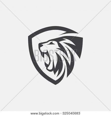 Lion Shield Icon Vector, Lion Logo Design, Lion Head Logo Design