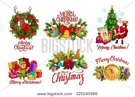 Merry Christmas Wreath Decorations And Greeting Calligraphy Icons. Vector Santa With Reindeer, Gifts
