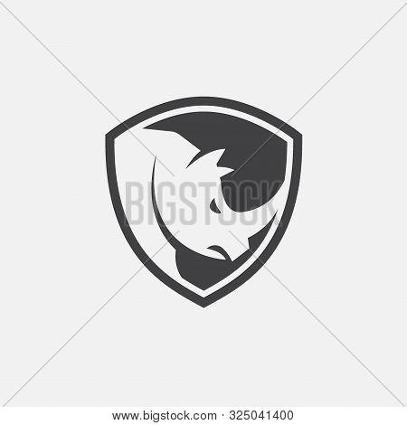 Rhino Shield Icon Design Vector, Strong Icon, Rhino Flat Icon Illustration
