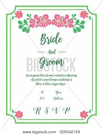 Template Of Invitation Bride And Groom, With Design Element Of Pink Flower Frame. Vector