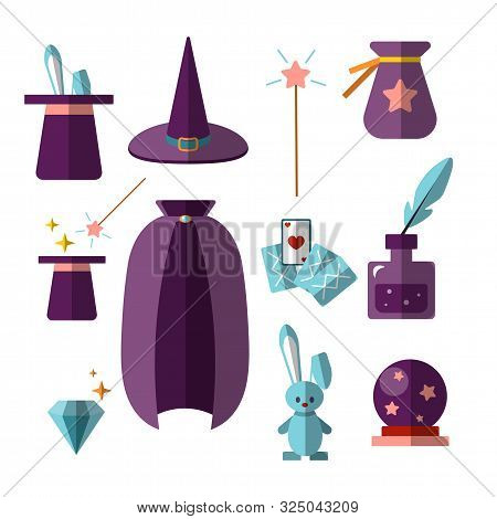 Magician Illusionist Vector Flat Set With Fabulous Items - Magic Hat, Rabbit, Wand, Cards, Cristal B