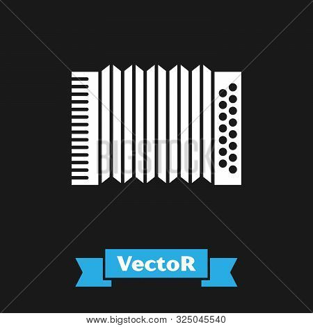 White Musical instrument accordion icon isolated on black background. Classical bayan, harmonic. Vector Illustration poster