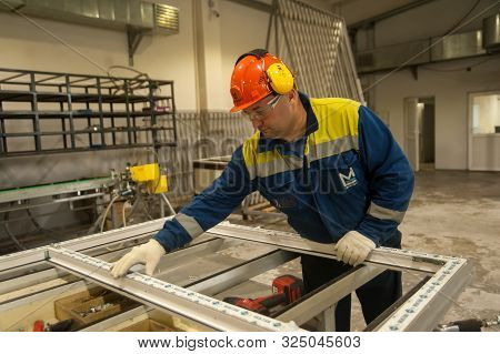 Tyumen, Russia - September 4, 2019: Workshop Of Mostootryad-36 Factory For Aluminum And Pvc Windows